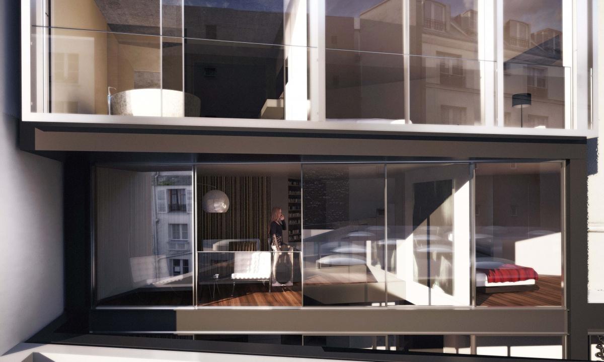 7 logements en surélévation à Paris : SKP_DOU_FRONTE 2