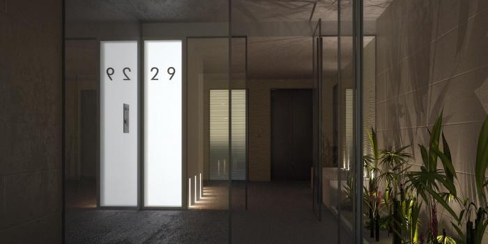 Réhabilitation lourde d'un immeuble de logement collectif : version 2 sans banc vue exterieure nuit