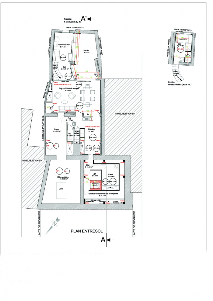 Extension d'un logement : Plan entresol projet
