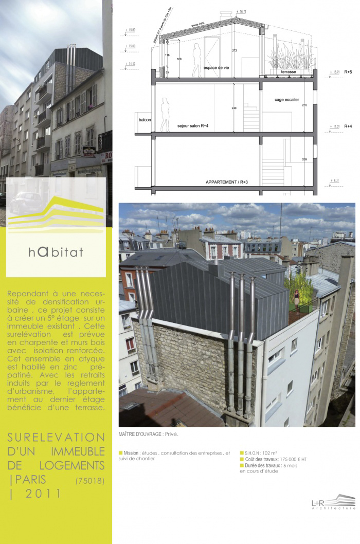CREATION D'UN APPARTEMENT EN DUPLEX EN SURELEVATION