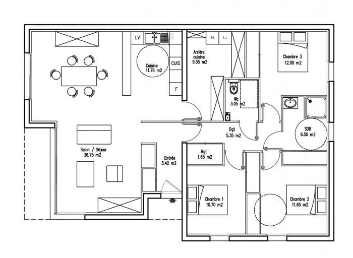 Incroyable Plan Architecturale De Maison  Plan Du Rdc  NawmyCom