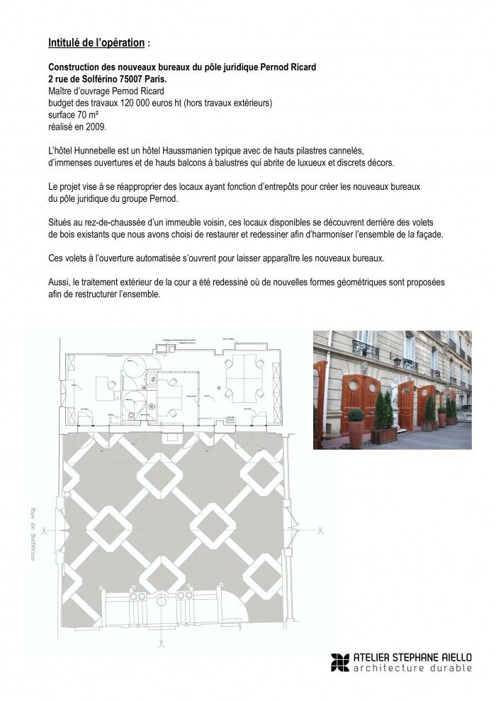 Construction de bureaux pour Pernod Ricard Europe