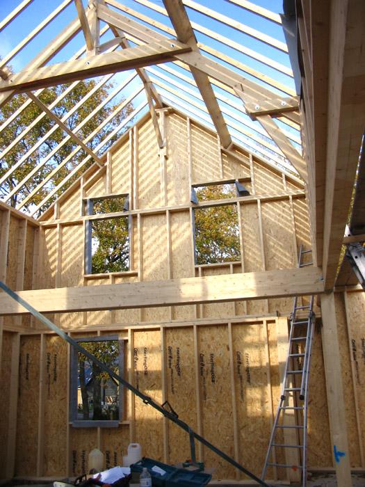 intérieur de maison bois en construction